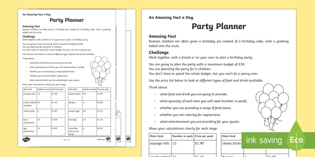 A Party Planner Worksheet   Activity Sheet