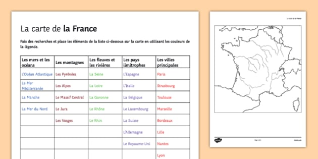 Map Of France Worksheet   Activity Sheet French