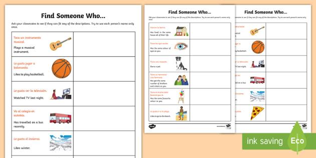 Find Someone Who Worksheet   Activity Sheet Spanish
