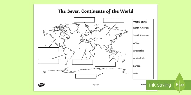 The Seven Continents Labelling Worksheet   Activity Sheet