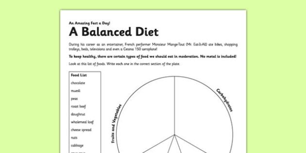 A Balanced Diet Worksheet   Activity Sheet