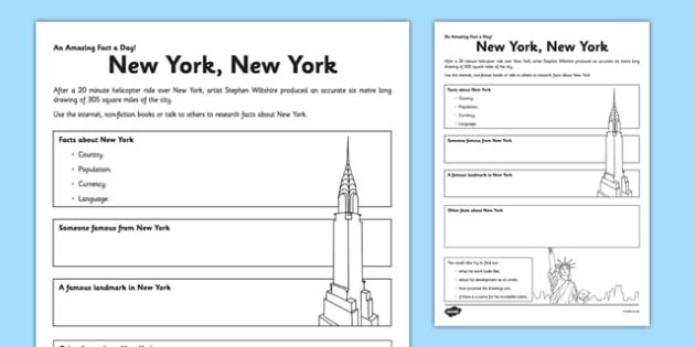 New York, New York Worksheet   Activity Sheet