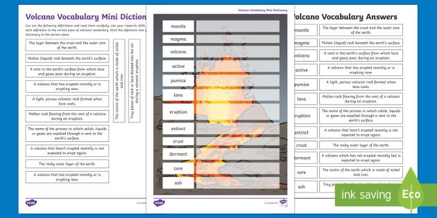 Volcano Vocabulary Mini Dictionary Worksheet   Activity Sheet