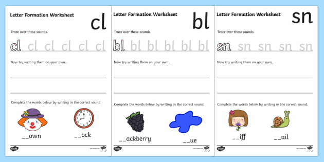 Phase 4 Initial Blends Letter Formation Worksheets