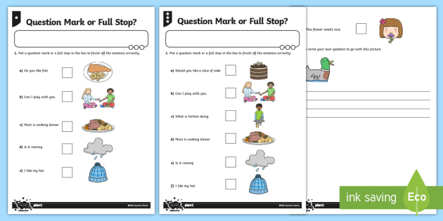 Question Mark Or Full Stop  Differentiated Worksheet   Activity
