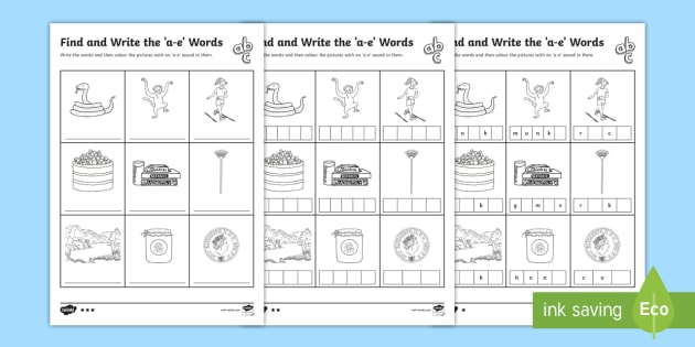 Find And Write The A E Words Differentiated Worksheet   Activity