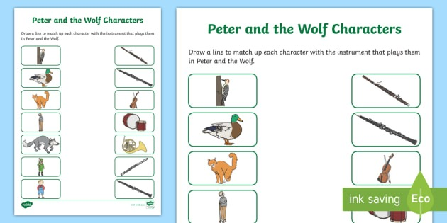 Peter And The Wolf Character Activity Sheet