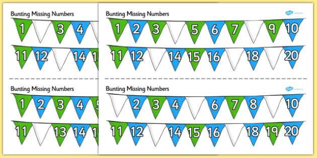 Bunting Missing Number To 20 Worksheet   Activity Sheets