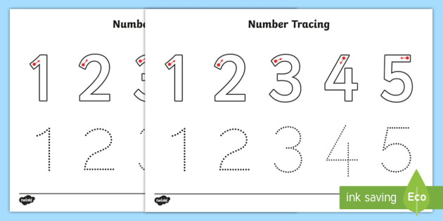 Number Tracing Worksheet 1