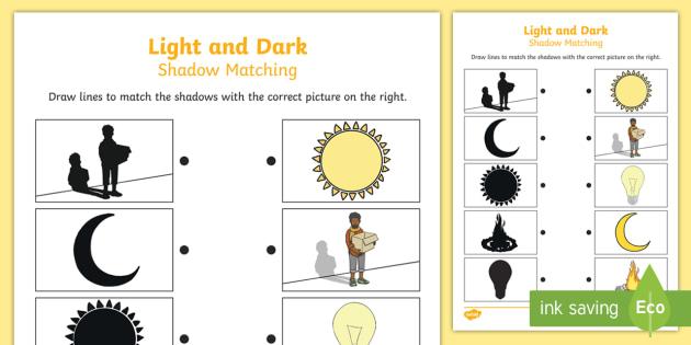 Light And Dark Shadow Matching Worksheet