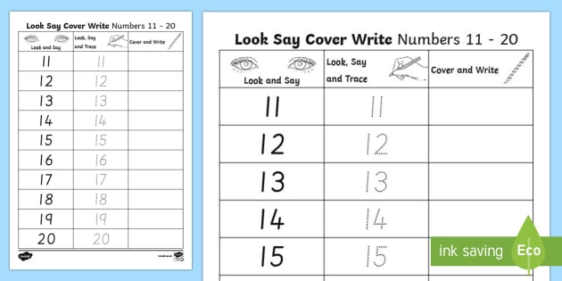 Number Formation 11 To 20 Look, Trace And Write Worksheet