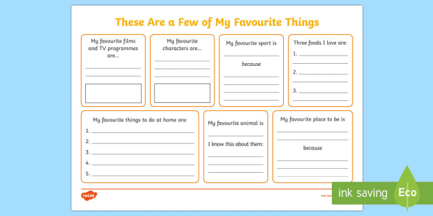 Ks1 These Are A Few Of My Favourite Things Worksheet   Activity