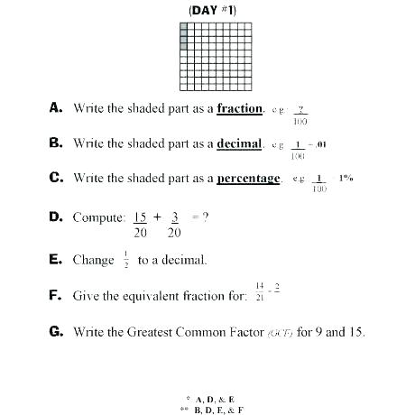 Converting Fractions To Decimals And Percents Worksheet 2