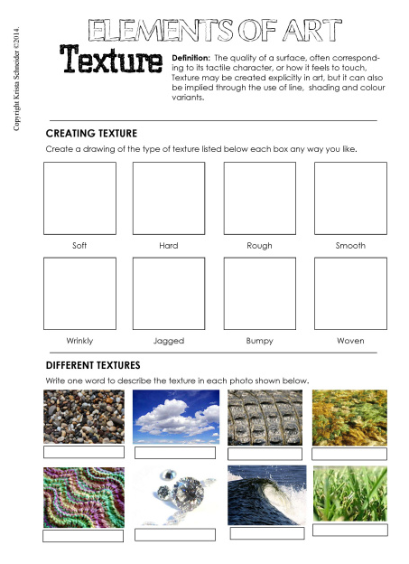 Texture Worksheets For First Grade