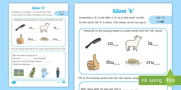 Silent B Worksheet   Activity Sheet