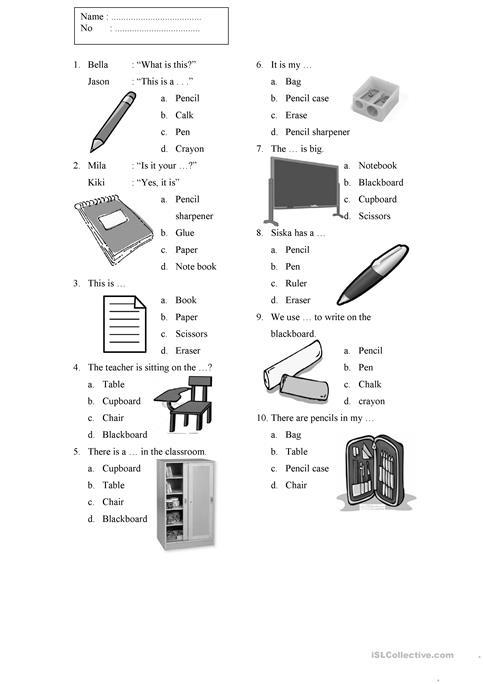 Things In The Classroom Worksheet Worksheet