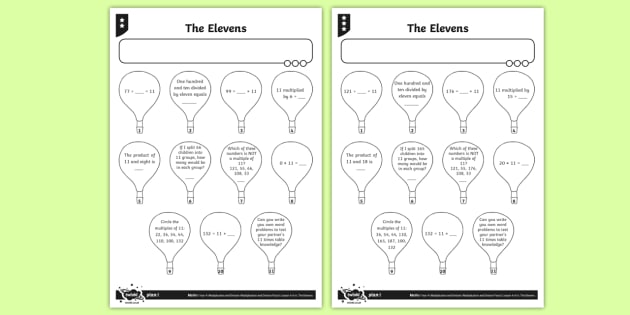 11 Times Table Worksheet   Activity Sheets
