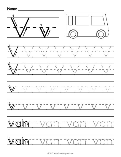 Tracing Letter V Worksheet