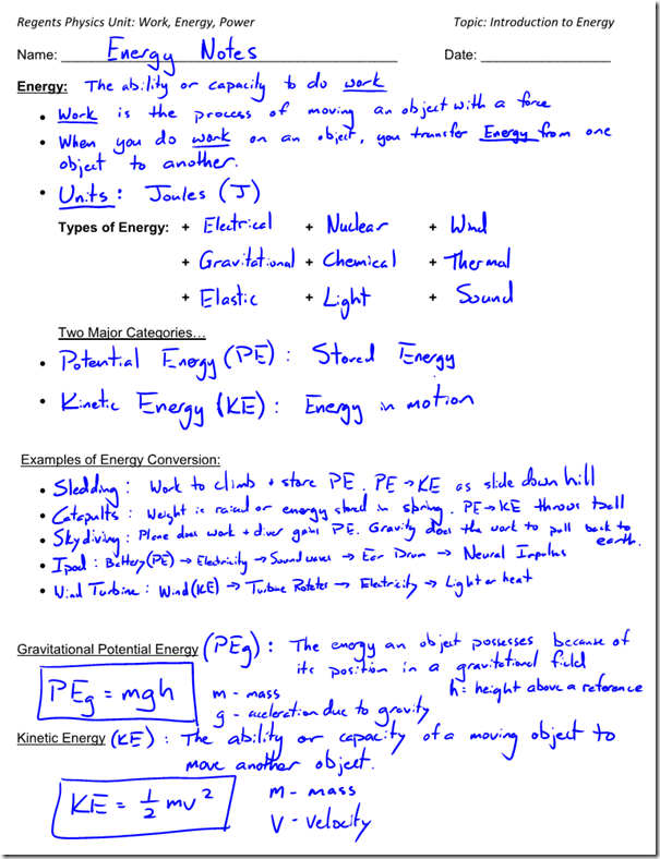 Types Of Potential Energy Worksheet Worksheets For All