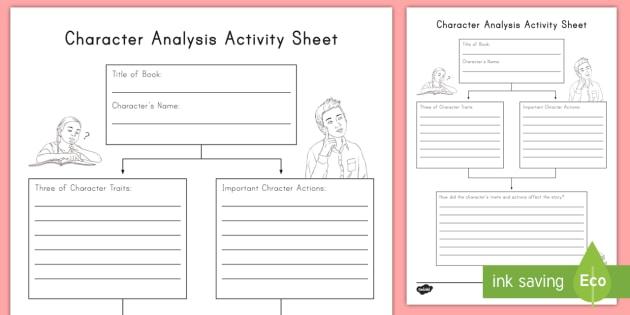 Character Analysis Worksheet   Activity Sheet