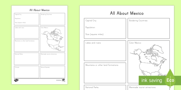 All About Mexico Worksheet   Activity Sheet