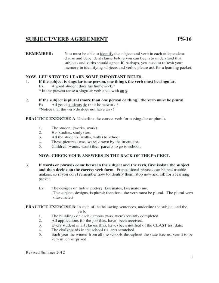 Subject Verb Agreement Worksheets Grade 4 Simple Present Exercises