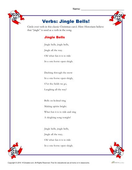 Jingle Bells! Circle The Verbs