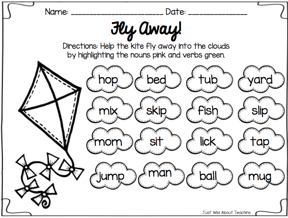 Verbs Worksheet For First Grade Worksheets For All