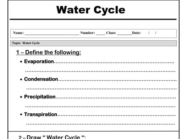 Water Cycle   Worksheet  By Abubakrshalaby