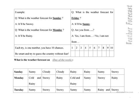 Weather Forecast Guessing Game Worksheet