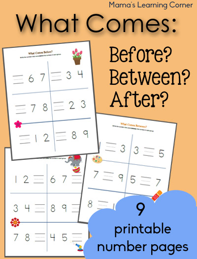 What Comes Before, Between, And After Counting Worksheets