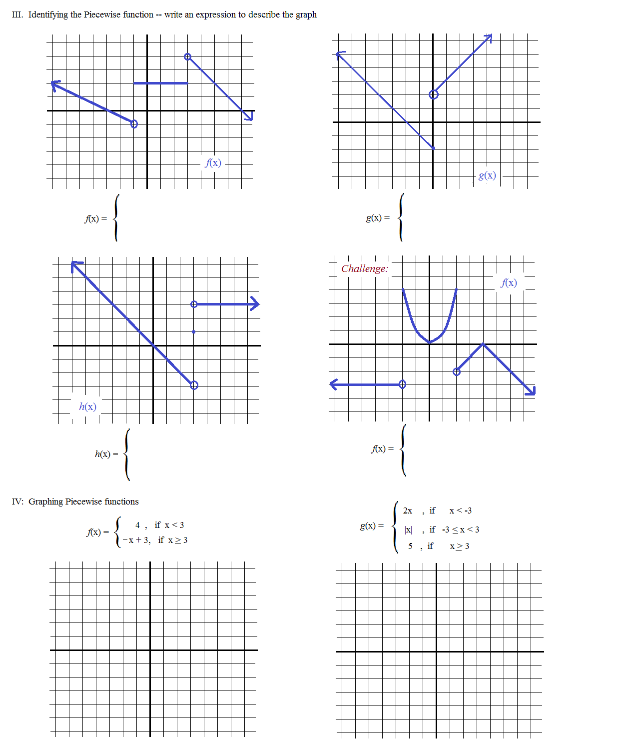 Math 4 Worksheet Piecewise Functions Answers