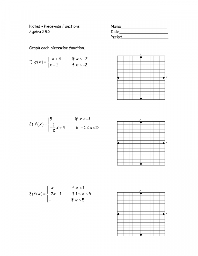 Worksheet Piecewise Functions Answers Graphs Comparing In Factor