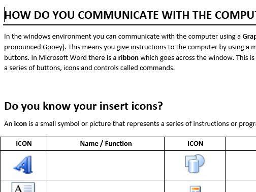 Microsoft Word Icon Worksheet By Chloehoppy