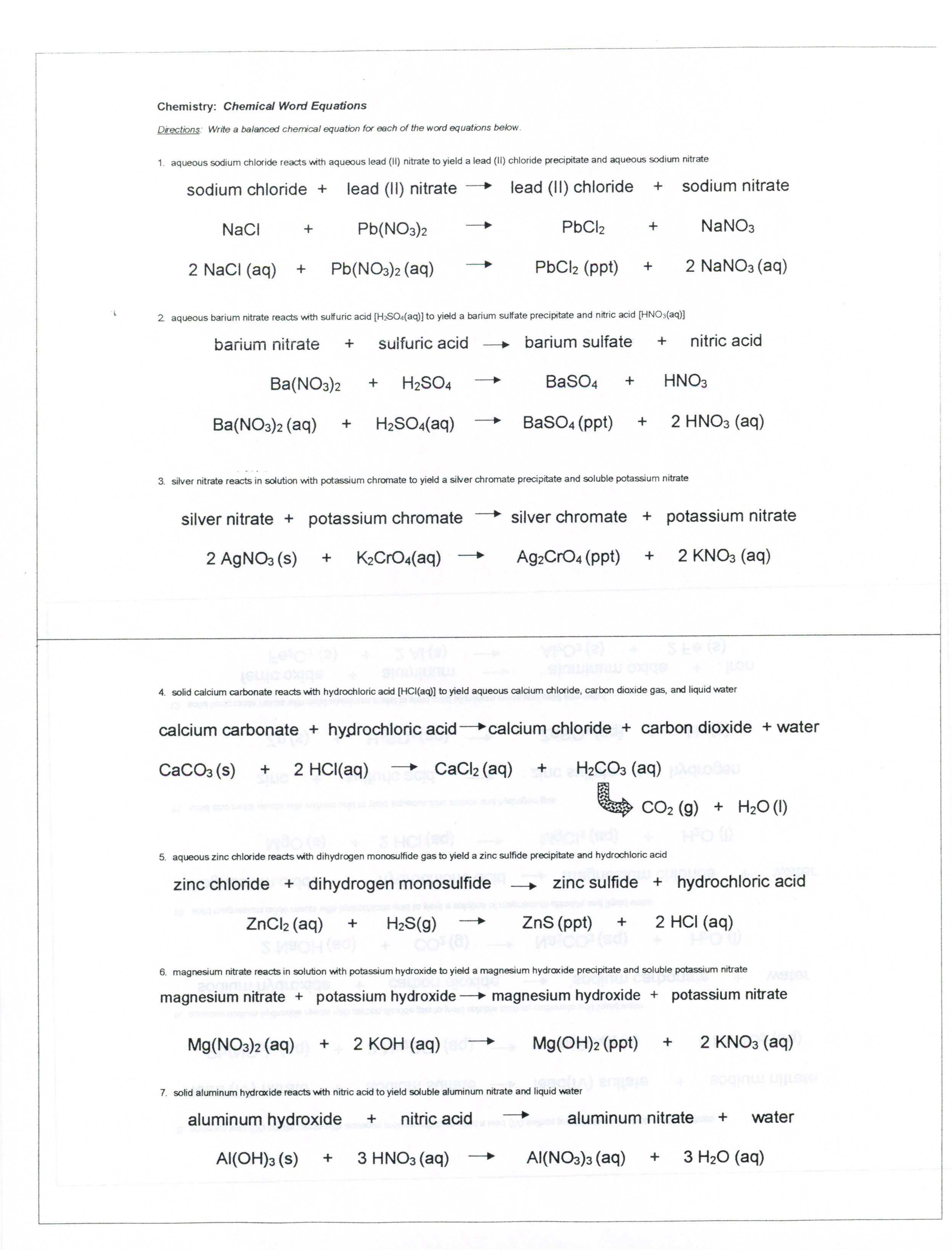 Word Equations Worksheet Page 59