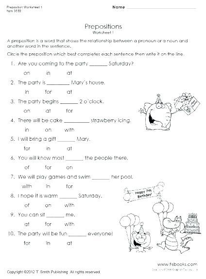 Year 2 Preposition Worksheets Activities Fun Worksheet For Junior