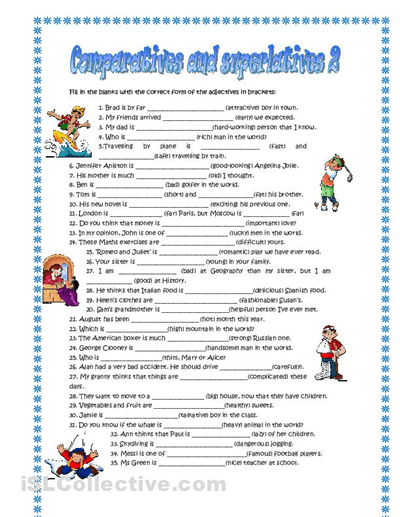 Esl Comparatives And Superlatives Worksheets