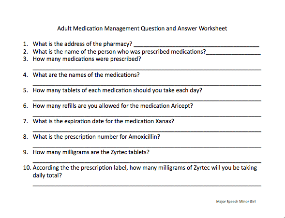 A Worksheet Was Made To Go Along With The Previous Medication