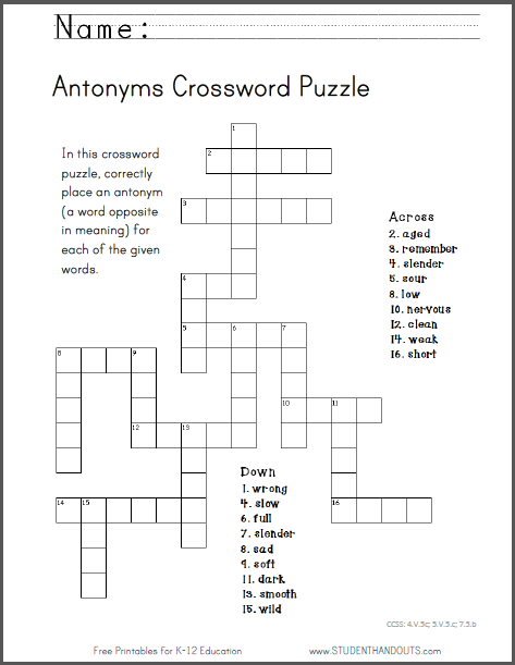 Antonyms Crossword Puzzle, Free To Print (pdf File)  Ccss  4 V 5c