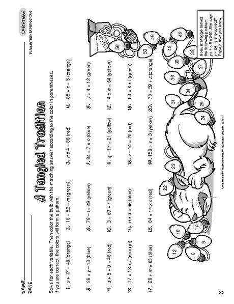 Christmas Worksheet  Evaluating Algebraic Expressions A Tangled