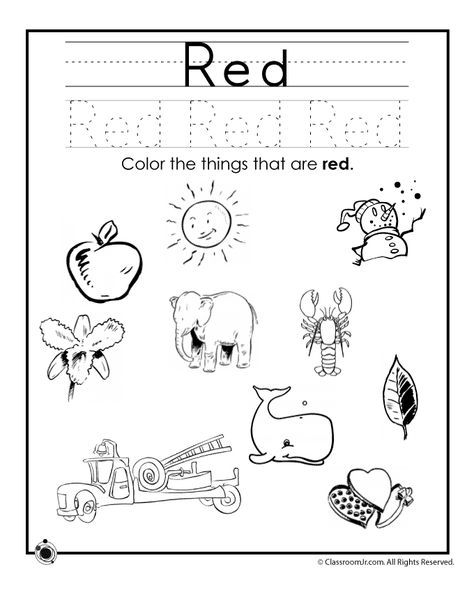 Learning Colors Worksheets For Preschoolers Color Red Worksheet