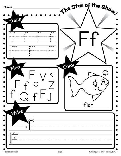 Free Letter F Worksheet  Tracing, Coloring, Writing & More