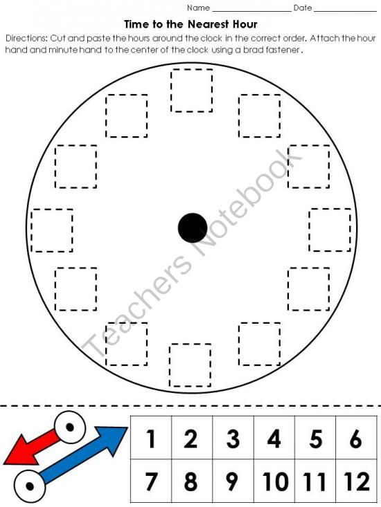 Time  Clock Cut And Paste Activity