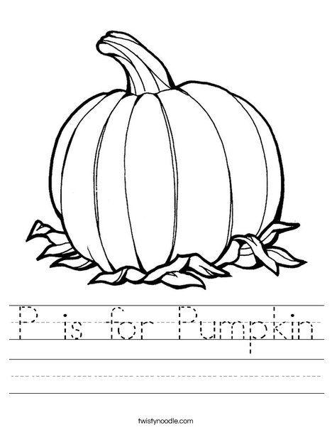 P Is For Pumpkin Worksheet