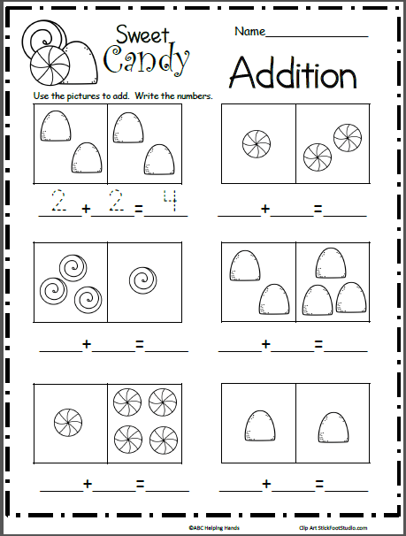 Sweet Candy Math Addition Worksheet