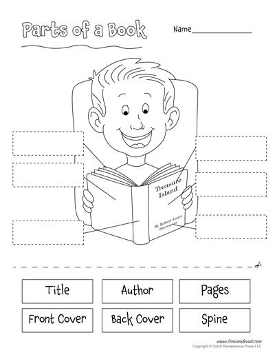 Parts Of A Book Cut And Paste Activity