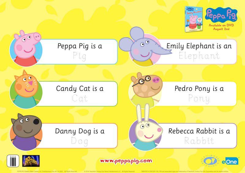 Printable Peppa Pig Reading And Writing Worksheet