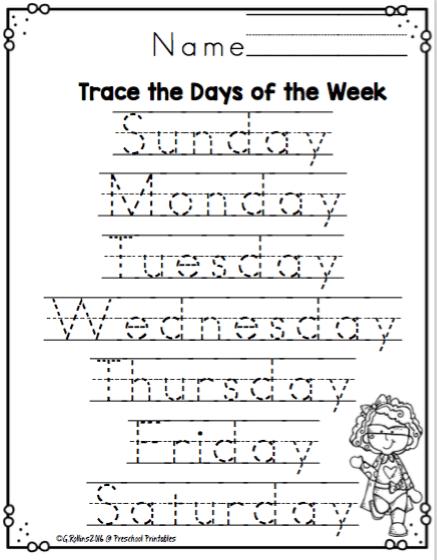 Superhero Days Of The Week Worksheets ~ Preschool Printables