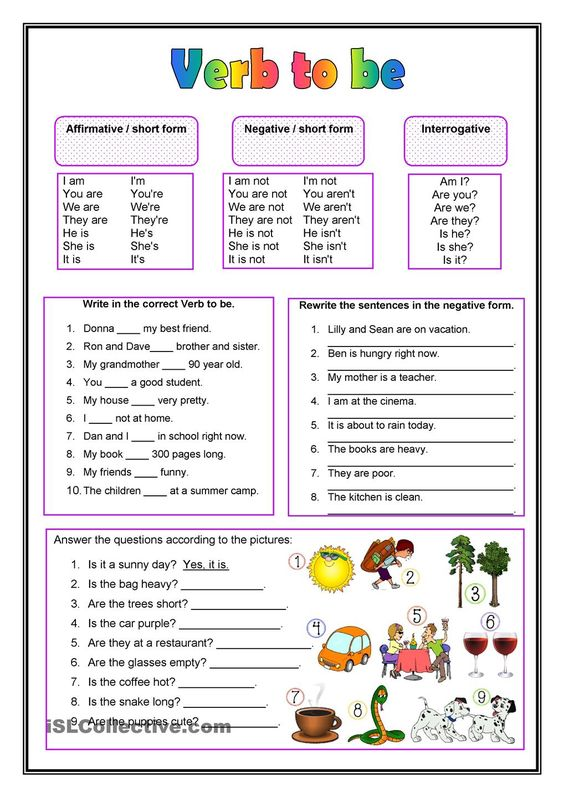 Worksheets  Verb To Be – Show And Text