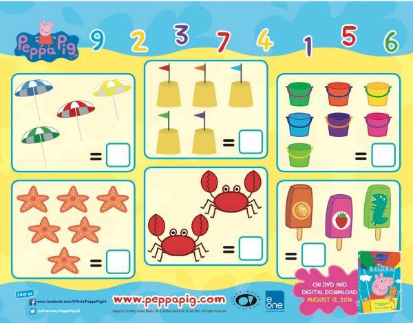 Peppa Pig Printable Math Activity Worksheet